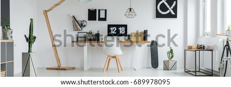 Bright workspace with computer in modern apartment for minimalist hipster #689978095