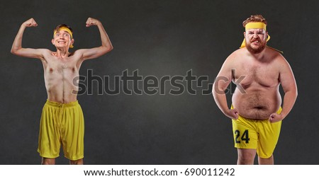 Comical and funny fat and thin athletes Royalty-Free Stock Photo #690011242