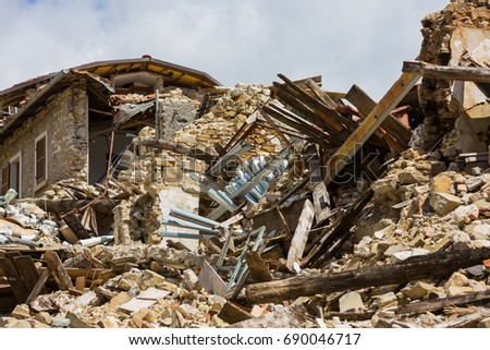 Pretare, Marche, Italy 24 August 2016. Earthquake center of italy with magnitude 6.5 scale of richter scale. Its destructive force. #690046717