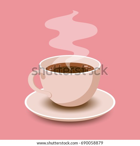 Cup of Fresh Coffee. Vector Illustration. Flat Style. Decorative Design for Cafeteria, Posters, Banners, Cards #690058879