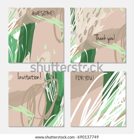 Hand drawn creative invitation greeting cards. Invitation party card template. Set of 4 isolated on layer. Abstract creative universal doodles. Roughly brushed floral motifs. Vector illustration. #690137749