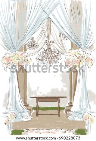Wedding decor of altar. Sketch in beige tones