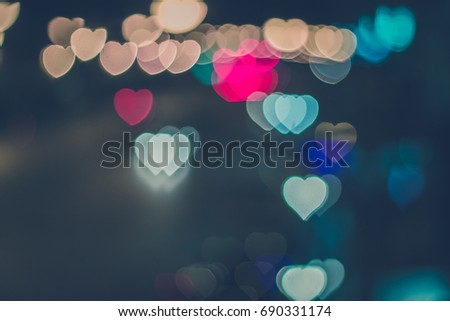 Bokeh lights, heart, love ,blackground -vintage style picture and vintage color