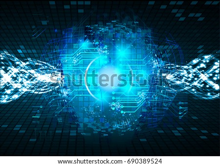 future technology, blue cyber security concept background, abstract hi speed digital internet.motion move blur. pixel. vector #690389524