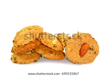 Cashews cookies,  Almond cookies  and chocolate chip cookies on white background #690535867