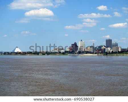 City of Memphis from the Mississippi river