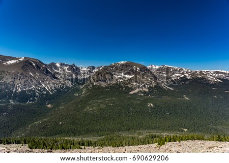 Trail Ridge Road is the name for a stretch of U.S. Highway 34 that traverses Rocky Mountain National Park from Estes Park, Colorado to Grand Lake, Colorado offering stunning mountain views. #690629206