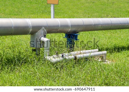 industrial pipes of steam high pressure beside the road in industrial estate,compression,pressure gauge #690647911