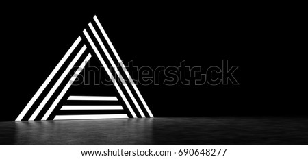 Abstract pyramid consisting of glowing stripes. 3D Render #690648277