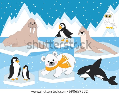 Vector set with arctic animals and birds. Set includes polar bear, seal, walrus, owl, penguins and whale. Iceberg and sky on background. Arctic animals vector illustration