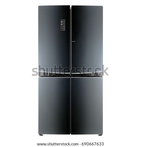 Fridge Freezer Isolated on White Background. Domestic Appliances. Front View of Black Refrigerator. Electric Appliances. Smart Refrigerator. Kitchen Appliances #690667633