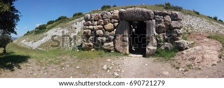 Hattusa - the ruins of the capital of the Hittite Empire - Yerkapi gate and tunnel #690721279