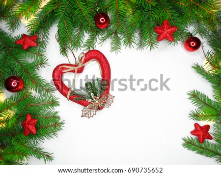 christmas background with fir branches frame lights and copy space #690735652