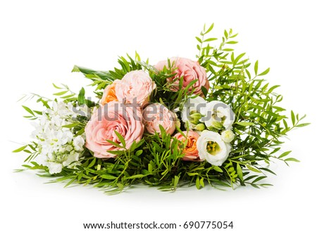 Pink rose in a floral bouquet #690775054