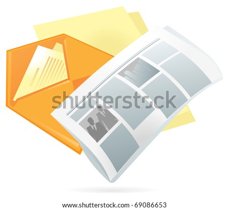 Newspaper, letter envelope and blank paper. Raster version. Vector version is also available.