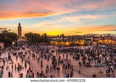 Jamaa el Fna market square, Marrakesh, Morocco, north Africa. Jemaa el-Fnaa, Djema el-Fna or Djemaa el-Fnaa is a famous square and market place in Marrakesh's medina quarter. #690883228
