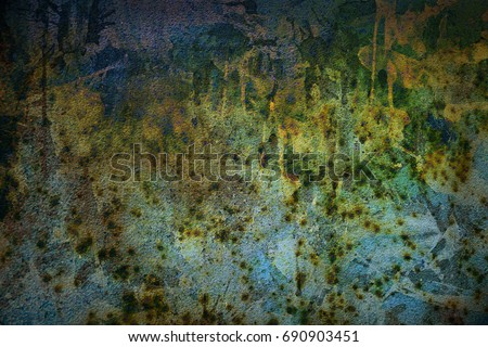 A beautiful abstract background aged wall with paint stains. #690903451