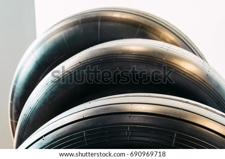 Wheels rubber tire for aircraft exhibited in series #690969718