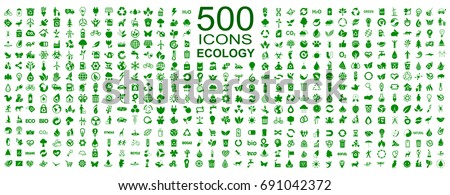 Set of 500 ecology icons – stock vector Royalty-Free Stock Photo #691042372