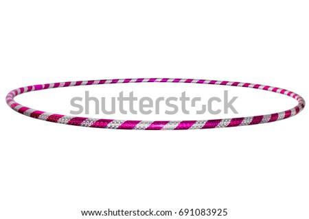 The hula Hoop silver with purple isolated on white background Royalty-Free Stock Photo #691083925