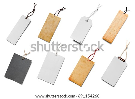 collection of  various price label notes on white background. each one is shot separately Royalty-Free Stock Photo #691154260