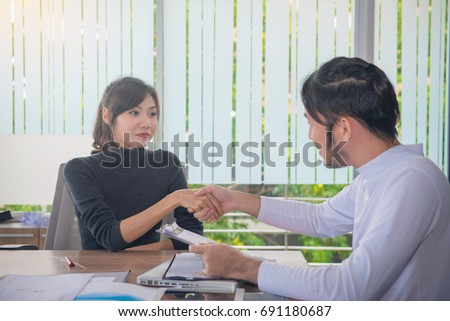 Business people handshake at meeting or negotiation in the office, Business partnership meeting concept. #691180687