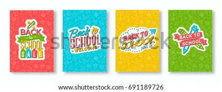 Back to school card set with color emblems consisting of pen, pencil, paper plane and sign welcome on different background consisting of school supplies. School shopping. Vector illustration.