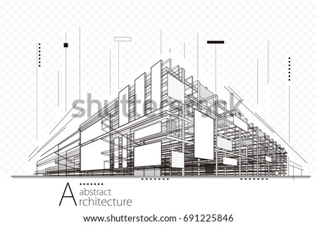 Abstract construction perspective architecture designing line art background.   Royalty-Free Stock Photo #691225846