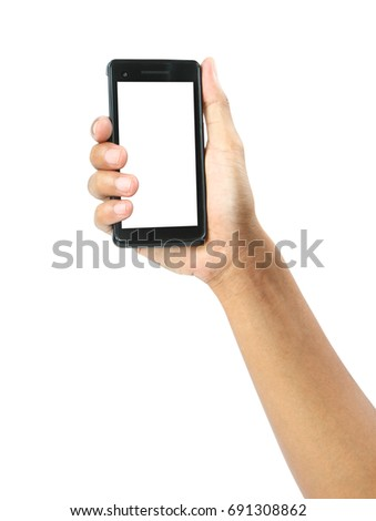 Male hand holding on mobile smartphone with blank screen isolated on white background #691308862