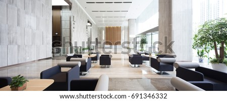 interior of modern entrance hall in modern office building Royalty-Free Stock Photo #691346332