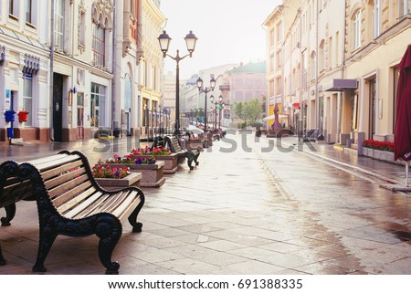 Russia, Moscow, Nikolskaya street - summer 2017 - Early morning in Moscow. Morning in the city, empty streets Royalty-Free Stock Photo #691388335