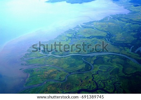 River delta from bird's eye view, Kamchatka