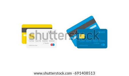 Credit Cards illustrations. Front and Back views. Royalty-Free Stock Photo #691408513