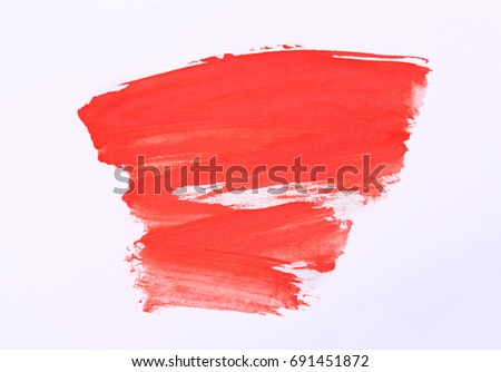 Red marker paint texture isolated on white background. Red paint stroke. Pattern, texture of colored watercolor paint. Gouache. Abstraction. #691451872