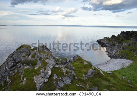 Northern Norway rocky landscape, Barents sea #691490104