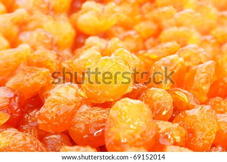 Dried yellow cherries close up picture. #69152014