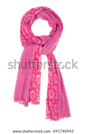Pink silk scarf isolated on white background. Female accessory. #691740943