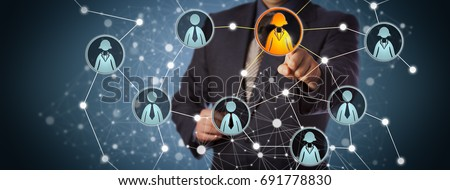 Blue chip manager contacting a businesswoman in a professional social network. Internet concept for global interconnection, recruiting, talent acquisition, business technologies and networking. Royalty-Free Stock Photo #691778830