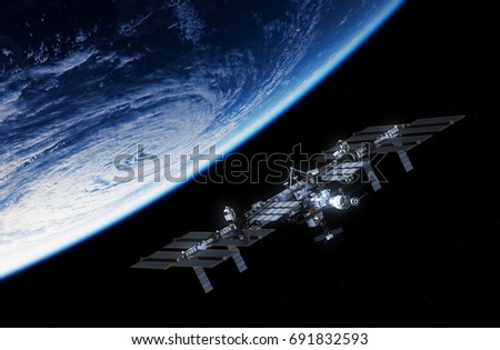 International Space Station Orbiting Planet Earth. 3D Illustration. #691832593