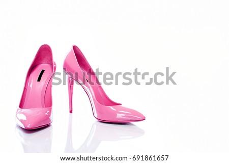 Beautiful Elegance and Luxury Pink High Heel Isolated on White Background. - Image        Royalty-Free Stock Photo #691861657