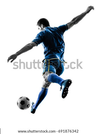 one caucasian soccer player man playing kicking in silhouette isolated on white background Royalty-Free Stock Photo #691876342