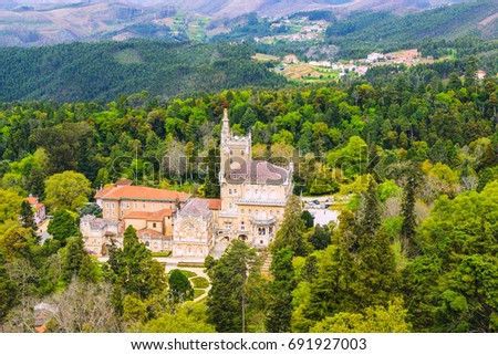 Lovely view of the park and palace of Bussaco. Coimbra. Portugal #691927003