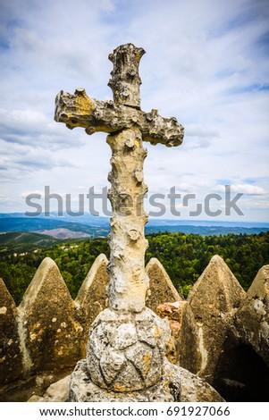 Cruz Alta-stone cross at the highest point of Bussaco park. Coimbra. Portugal #691927066