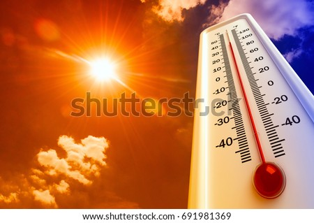 Heat, thermometer shows the temperature is hot in the sky, Summer Royalty-Free Stock Photo #691981369