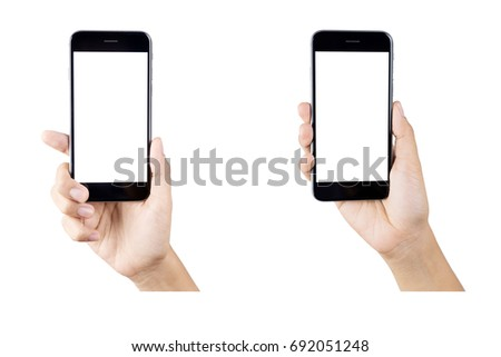 Woman hand holding smartphone isolated on white background.  #692051248