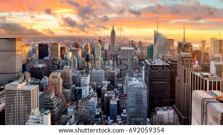 New York city at sunset, USA #692059354