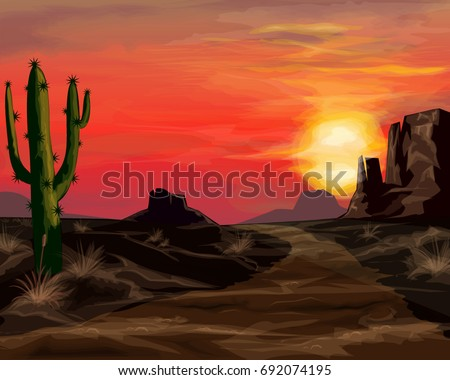 Wild west sunset landscape background vector