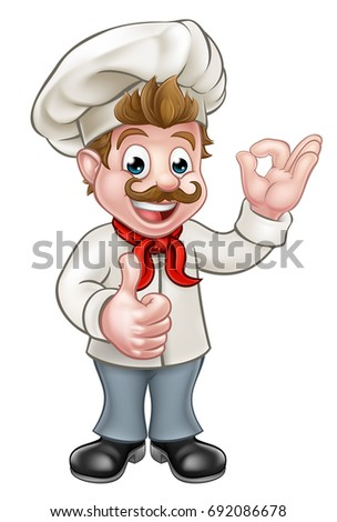 Cartoon chef or baker character giving a perfect okay delicious cook gesture and a thumbs up