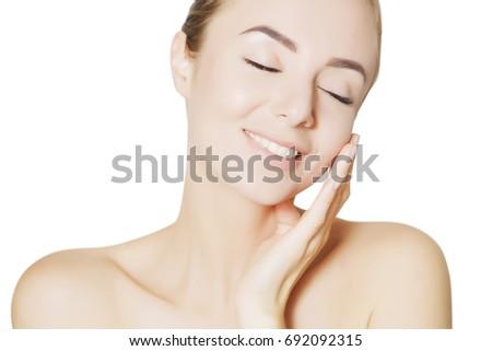pretty caucasian woman portrait with vivid makeup #692092315