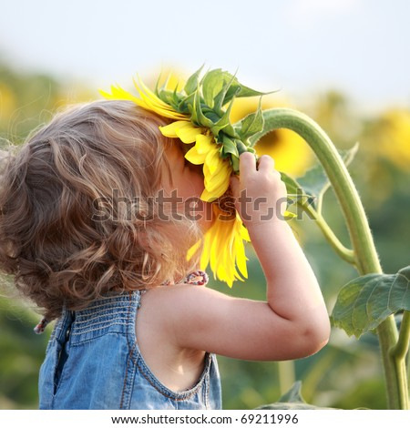 Cute child with sunflower in summer field #69211996